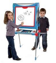 Školská tabuľa na hranie magnetická Smoby obojstranná, polohovateľná so skrinkou a 60 doplnkami modrá