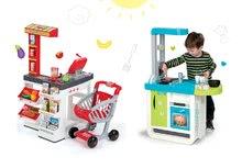 Kuchynky pre deti sety - Set kuchynka Cherry Kitchen Smoby so zvukmi a kávovarom a obchod zmiešaný tovar s pokladňou_29