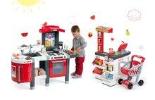 Smoby 311300-19 set červená kuchyňka Tefal Superchef s grilem a obchod Supermarket s elektronickou pokladnou