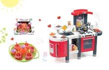 Smoby 311300-22 set červená kuchyňka Tefal Superchef s grilem a Écoiffier čajová sada Bubble Cook