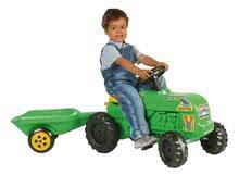 Pedálos gyermekjárművek - Pedálos traktor Turbo Dohány kis farmereknek pótkocsival zöld_0