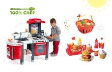 Smoby 311300-23 set červená kuchyňka Tefal Superchef s grilem a Écoiffier hamburgery a košík s ovocem a zeleninou