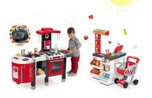 SMOBY 311203-2 červená kuchynka Tefal French Touch Bublinky&Voda+obchod Supermarket s elektronickou pokladňou