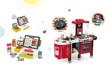 SMOBY 311203-3 červená kuchynka Tefal French Touch Bublinky&Voda+elektronická pokladňa s dotykovou obrazovkou
