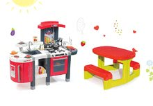 Szett játékkonyha gyerekeknek Tefal SuperChef Smoby grillezővel és kávéfőzővel és asztalka Piknik tárolóhellyel