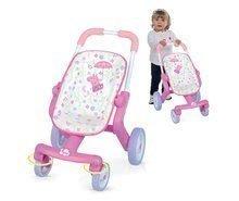 Voziček z vrtljivimi kolesi Peppa Pig Smoby za 32-42 cm dojenčka višina ročaja 53,5 cm od 18 mes