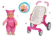 Set cărucior cu roţi pivotante Baby Nurse Smoby şi păpuşă de jucărie MiniKiss cu efecte sonore