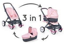 Vozički za dojenčke - Voziček 3v1 Powder Pink 3in1 Maxi Cosi&Quinny Smoby globoki in športni ter prenosljiva posteljica za 42 cm dojenčka_0