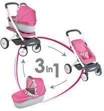 Cărucior 3in1 Maxi Cosi&Quinny Smoby cu landou (mâner de împins de 65,5 cm) roz