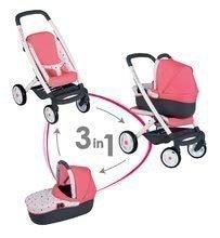 Cărucior adânc şi sport Trio Pastel Maxi Cosi&Quinny Smoby 3in1 cu coş bebe pentru păpuşă roz cu modele