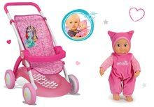 Set športový kočík pre bábiku Princezné Smoby s bábikou Minikiss so zvukom pusinky od 18 mesiacov SM254011-2