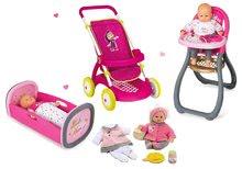 Kolica za lutke setovi - Set kolica za lutku Smoby sportska (58 cm ručka), hranilica, kolijevka i lutka s odjećom od 18 mjeseci_18