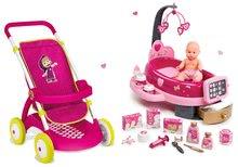 Set cărucior pentru păpuşă Smoby sport (58 cm mâner de împins) şi centru bebe Baby Nurse cu păpuşă de la 18 luni