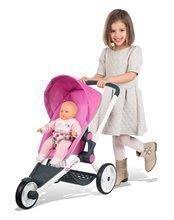 Sportovní kočárek pro panenku Maxi-Cosi & Quinny Jogger Smoby polohovatelný se stříškou a gumovými koly růžový