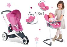 Set kočík pre bábiku Maxi-Cosi & Quinny Smoby (70 cm rúčka) a stolička, hojdačka a autosedačka pre bábiku