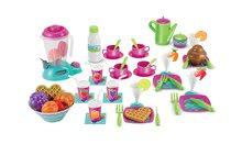 Dětská jídelní souprava s potravinami French Cuisine Écoiffier v tyrkysové dóze na sezení 54 dílů od 18 měsíců