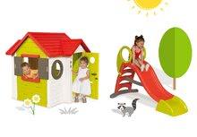 Smoby 810400-12 set domček My House s elektronickým zvončekom a stredná šmykľavka Toboggan KS od 2 rokov