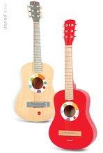 Detské hudobné nástroje - Drevená gitara s realistickým zvukom Confetti Big Red Guitar Janod od 5 rokov_0