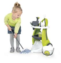Hry na domácnosť - Set upratovací vozík Clean Service Smoby a žehliaca doska s elektronickou žehličkou Clean_11