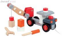 Pracovná detská dielňa - Drevená magnetická stavebnica auto Redmaster Bricolo Janod so žeriavom 25 dielov od 24 mes_0