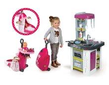 Set kuchyňka Tefal Studio BBQ Bublinky Smoby s magickým bubláním a přebalovací vozík Baby Nurse