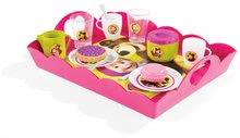 Detská čajová súprava Máša a medveď Smoby na tácke s koláčikmi s 18 doplnkami