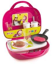 Detská kuchynka Máša a medveď Smoby v kufríku s opečenými potravinami a 17 doplnkami
