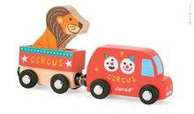 Drevené magnetické auto Cirkus Story Set Janod s levom od 1 roka 3 dieliky