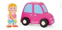 Drevené auto Story Set Janod s dievčatkom 1 roka 2 dieliky ružové