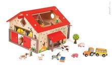 JANOD 06483 fa építőjáték Wooden Worlds Boldog Farm és állatkák 19 kiegészítővel 3-6 éves korig