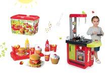 Kuchynky pre deti sety - Set kuchynka Cherry Special Smoby so zvukmi a kávovarom a set hamburgerov 100% Chef_16