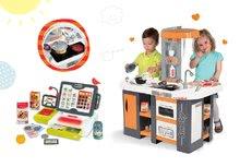 SMOBY 311002-4 set oranžovo-šedá kuchynka Tefal Studio XL so zvukmi a elektronická dotyková pokladňa
