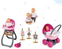 Set bábika Baby Nurse Zlatá edícia Smoby s jedálenskou stoličkou, hlboký kočík pre bábiku a 1 ks šiat