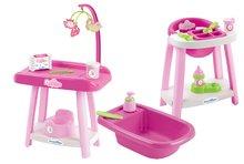 Suport pentru înfăşat cu scaun de masă şi cadă Nursery 3in1 Écoiffier roz cu 15 accesorii de la 12 luni