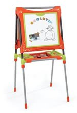Staré položky - Školská magnetická tabuľa Smoby obojstranná, polohovateľná s magnetickými písmenami a 61 doplnkami oranžovo-zelená_1