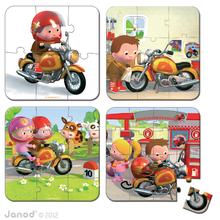 Detské puzzle do 100 dielov - Puzzle Markova motorka Janod v kufríku 6-9-12-16 dielov od 3 - 6 rokov_0