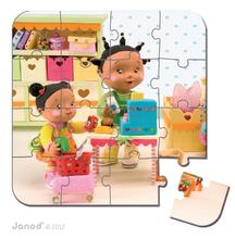Detské puzzle do 100 dielov - Puzzle Zoein obchod Janod v kufríku 6-9-12-16 dielov od 3 - 6 rokov_4