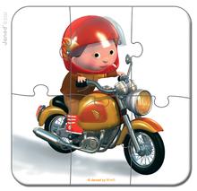 Detské puzzle do 100 dielov - Puzzle Markova motorka Janod v kufríku 6-9-12-16 dielov od 3 - 6 rokov_1