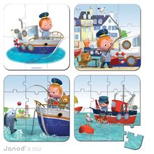 Detské puzzle do 100 dielov - Puzzle Leova loď Janod v kufríku 6-9-12-16 dielov od 3 - 6 rokov_1