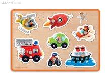 Fa puzzle legkisebbeknek Vehicles Fleurus Janod zenélő 18 hónapos kortól 7 részes