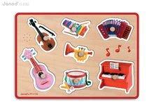 Drevené puzzle pre najmenších Instruments Fleurus Janod hudobné od 18 mesiacov 7 dielov