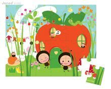 Detské puzzle do 100 dielov - Puzzle Záhrada & Hmyz Janod v okrúhlom kufríku 24 dielov od 3 - 6 rokov_0