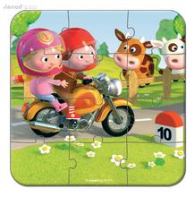 Detské puzzle do 100 dielov - Puzzle Markova motorka Janod v kufríku 6-9-12-16 dielov od 3 - 6 rokov_3