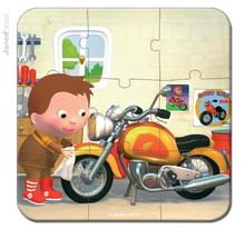 Detské puzzle do 100 dielov - Puzzle Markova motorka Janod v kufríku 6-9-12-16 dielov od 3 - 6 rokov_2