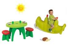 Set hojdačka Tuleň Smoby obojstranná s vodotryskom zelená a piknikový stolík s dvomi stoličkami