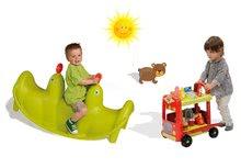 Set hojdačka pre deti Tuleň Smoby obojstranná s vodotryskom a vozík so zmrzlinou a hamburgermi