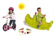 SMOBY 310159-13 zelená obojstranná hojdačka Tuleň s vodotryskom+ružové balančné odrážadlo Learning Bike+zmrzlina s kornútkom
