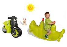 SMOBY 310159-8 zelená obojstranná hojdačka Tuleň s vodotryskom+zelené odrážadlo motorka Racing Bike