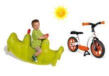 SMOBY 310159-12 zelená obojstranná hojdačka Tuleň s vodotryskom+oranžové balančné odrážadlo Learning Bike