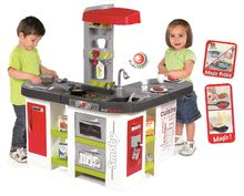 Kuchyňka pro děti Tefal Studio XXL Smoby elektronická s magickým bubláním a ledem s 35 doplňky červeno-zelená